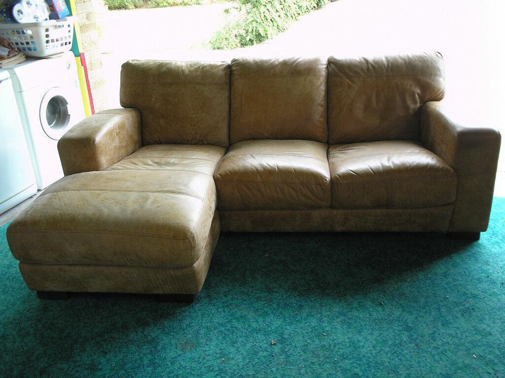 Large Tan Leather Sofa Corner Group In Hunstanton