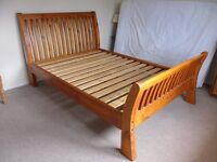 solid wood double bed sleigh slatted style headboard & Matress