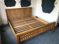 Natural solid oak super king bed frame
