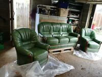 green leather sofa and 2 chairs excellent condition