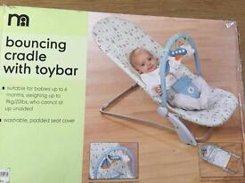 Mother care bouncing cradle with toybar 99% new