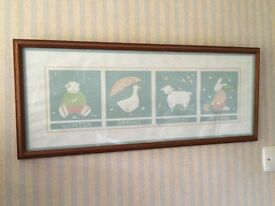 Nursery framed print. Boy or Girl depicting seasons of the year. May be able to deliver in highland