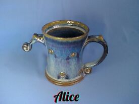 Pottery Gift Mugs - Handmade - Double-handled, Ideal GIFT for kids, teens, parents & Grandparents