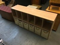 LARGE TWELVE BOX STORAGE WITH 6 CANVAS BASKETS