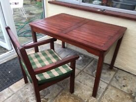 Hard wood table and chair