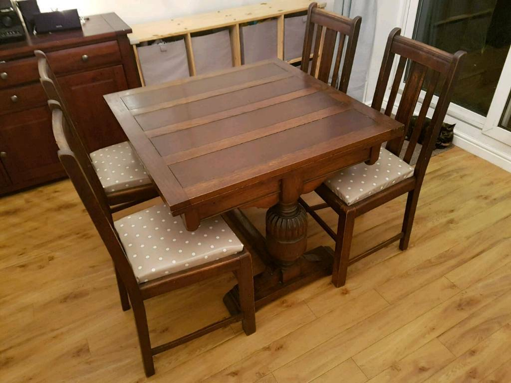 Antique Extending Dining Table & 4 Chairs