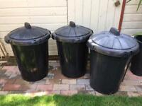 Black Plastic Rubbish Bins