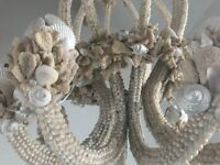 Large decorative shell and coral handmade chandelier