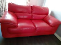 2 Seater Red Leather Settee. Very good condition.