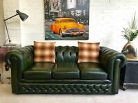 Green leather Chesterfield sofa. Can deliver.