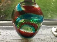 Whitefriars bubble art glass vase