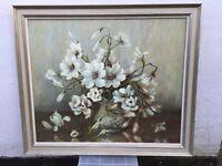 Marion Broom Oil Painting of Magnolias in Pewter Vase, Framed