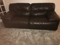 Brown 3 seater leather sofa & 1 brown leather chair