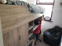 SINGLE CABIN BED WITH DESK AND STORAGE