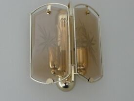GOLD(AMBER) DOUBLE BULB HOLDER WALL LIGHT FOR SALE