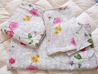 King size Grey pink floral cotton bed linen set