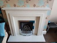 Real marble fire surround and fire