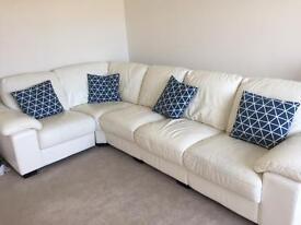 DFS Linea White Leather Corner Sofa