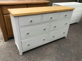 New/Ex-display Grey and oak 7 drawer wide chest
