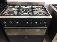 Black smeg 90cm dual fuel cooker grill & fan assisted ovens with guarantee