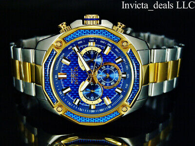 Invicta Mens 48mm Aviator Chronograph Blue Glass Fiber Dial 18K Gold 2Tone Watch