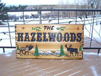 RUSTIC CARVED CEDAR SIGNS