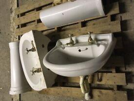 2 White half bound basins & pedestals £20 each