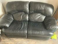 Black leather two seater recliner sofa