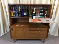 Shreiber Sideboard Wall Unit Teak Retro Vintage Cocktail Bar Display Cabinet Small