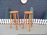 PAIR OF TALL PINE STOOLS IN EXCELLENT CONDITION 32/70 cm £20 FOR THE PAIR
