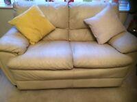Leather sofa - 2 seater cream