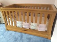 Mamas & Papas Ocean Solid Oak cot/bed and chest of drawers