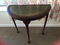 Hall Table, with green leather top, carved hardwood legs & surround
