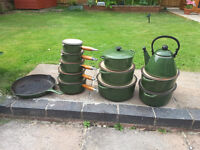 Lecreuset classic green cookwear. (cast iron)
