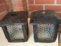 Two solid wood lanterns