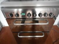 INDESIT DUAL FUEL DOUBLE OVEN S/STEEL COOKER**LIKE NEW**