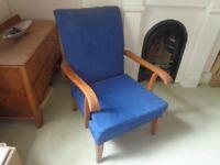 Parker Knoll armchair/fireside chair. Solid oak frame.