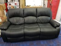 3 Seater black leather recliner RRP £599