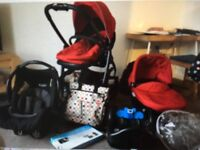 Graco 3 in 1 travel system, car seat & adapter, seat pad, footmuff and rain over. Pick up EH16 4 HS