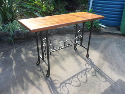 Rare wrought iron and red cedar slab table, single slab top Ipswich Ipswich City Preview