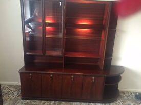 Mahogany Wall unit with working lights and glass cabinet