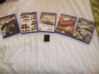 IDEAL XMAS GIFT 5 TOP RACING GAMES & MEMORY CARD FOR PS2 inc CASES & BOOKLETS, KINGSMUIR FORFAR