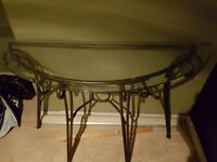 Curved Glass Top Hall Table