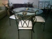 Stunning round glass , marble and wrought iron dining table with 4 chairs