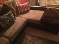 Brown leather and fabric corner sofa