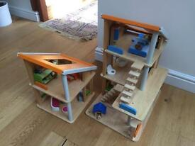 Plan Toys wooden dolls house and extension