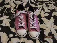 GIRLS PINK GLITTER CONVERSE SHOES SIZE 2 IN GREAT CONDITION