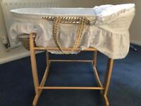 Baby Moses Basket with Rocking Stand and Mattress