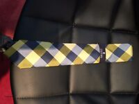 Stafford blue/yellow checked tie - new and unused/unopened