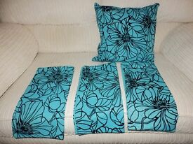 black /turquise cushion covers as new 4 in all